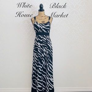 WHITE HOUSE BLACK MARKET ZEBRA MAXI DRESS SIZE 10